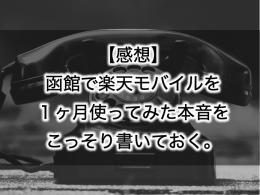 【感想】函館で楽天モバイルを1ヶ月使ってみた本音をこっそり書いておく。